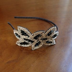 Leaf Vintage Beaded Flapper Headband Black & Gold
